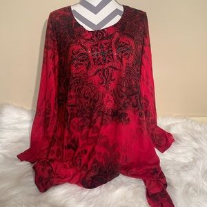 Closet Full Size XXXL Boho Red Blouse Length 30/37